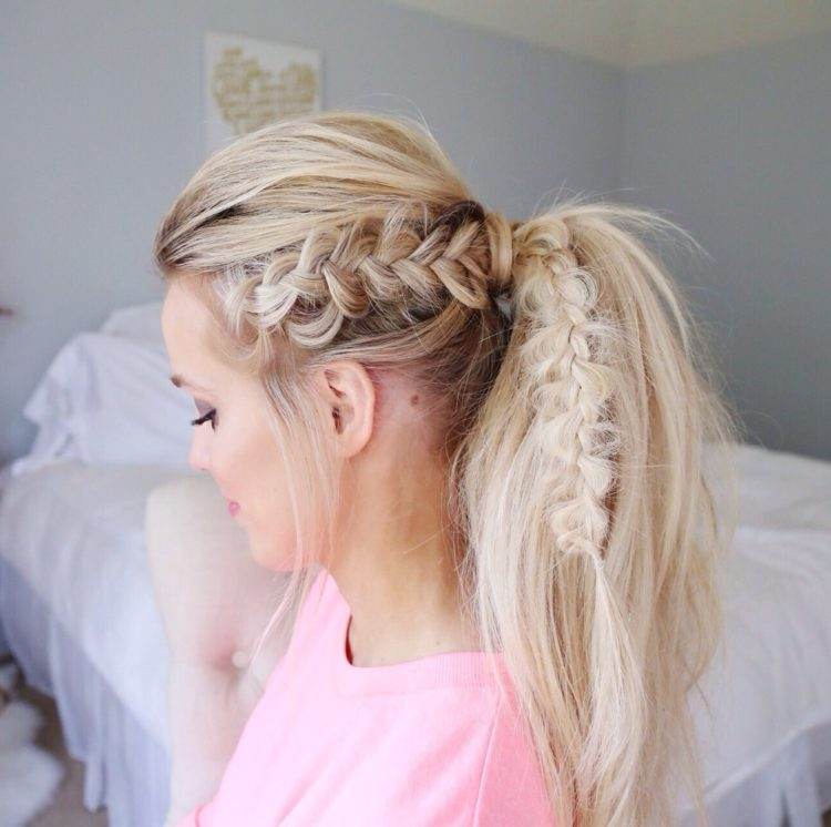 Dutch Braid into a Ponytail Tutotial